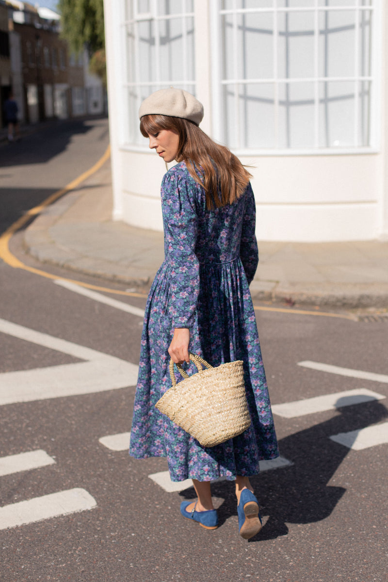 Anita is Vintage 80s Laura Ashley Blue Floral Midi Dress