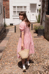 Anita is Vintage 80s Laura Ashley Pink Stripe Midi Dress