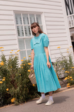 Anita is Vintage 80s Laura Ashley Turquoise & White Sailor Dress