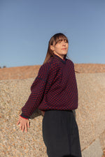 Anita is Vintage 80s Navy & Red Print Wool Jumper