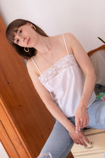 Anita is Vintage 80s White Lace Cami Top