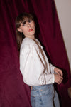Anita is Vintage 80s White Metallic Spot Blouse