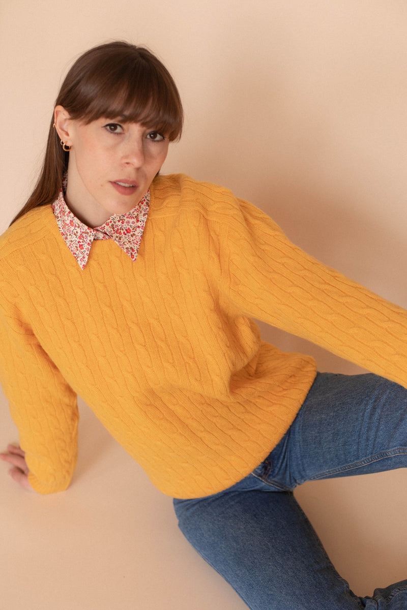 Anita is Vintage 80s Mustard Yellow Cable Knit Jumper
