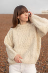 Anita is Vintage 90s Cream Speckled Wool Cable Knit Aran Jumper