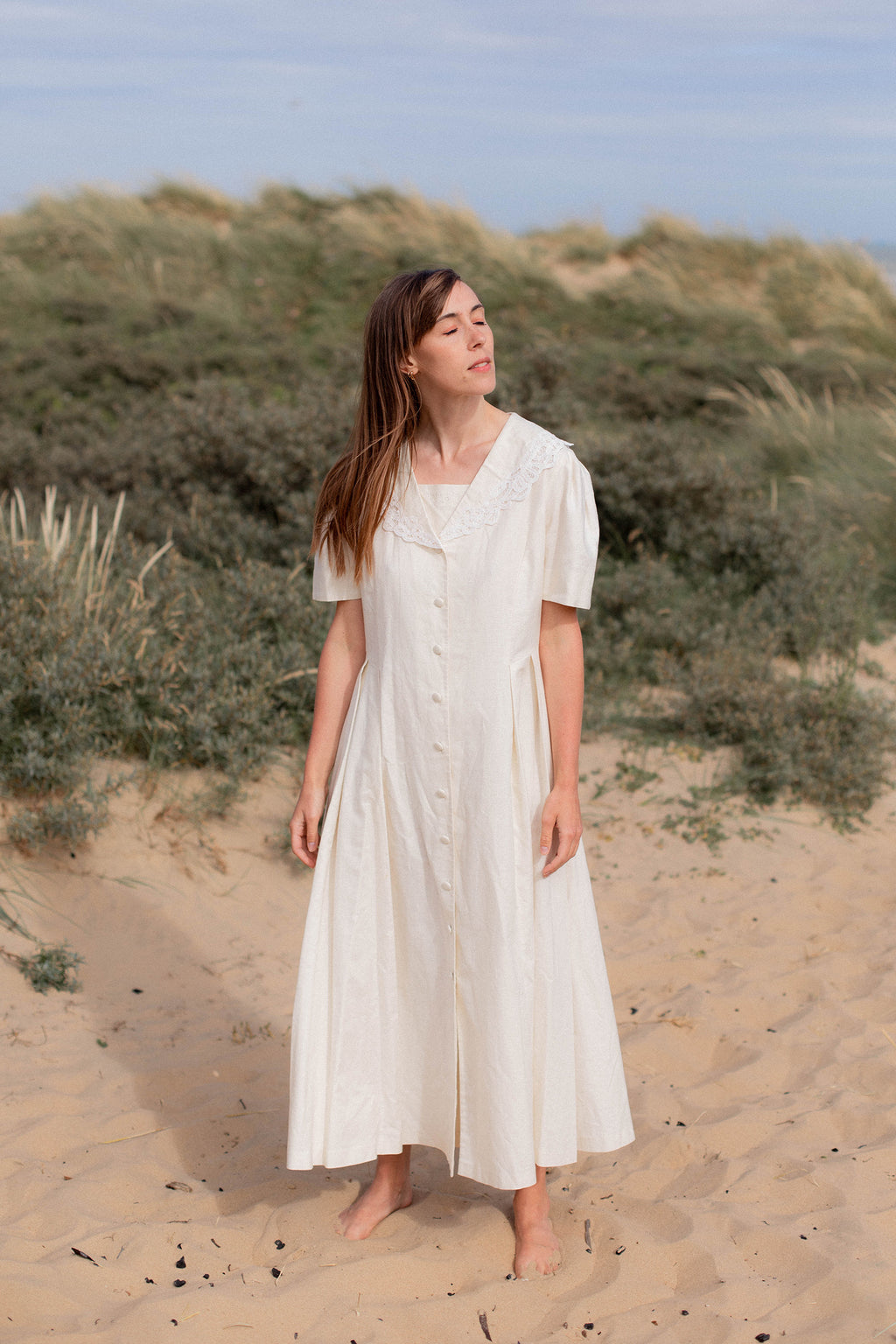 Anita is Vintage 90s Laura Ashley Cream Linen Sailor Maxi Dress