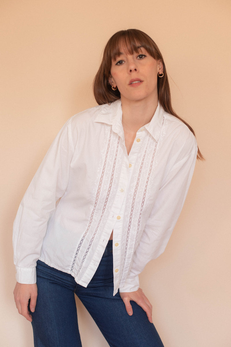 Anita is Vintage 90s Laura Ashley White Cotton Shirt