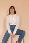Anita is Vintage 90s White Long Sleeve Cotton Blouse