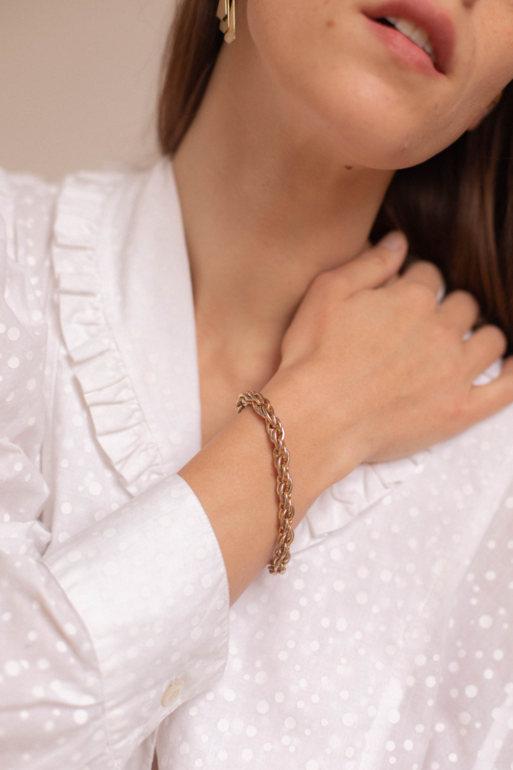 Anita is Vintage Gold Twist Chain Bracelet