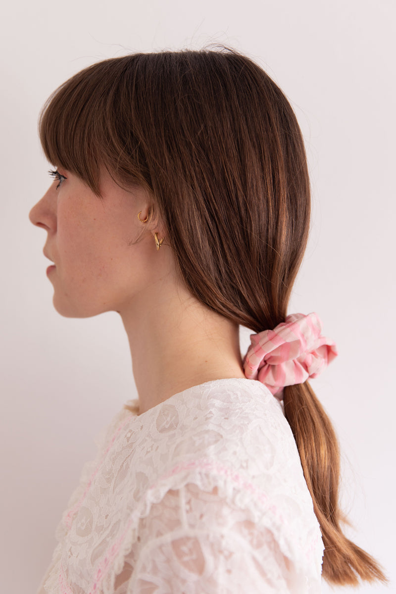 Anita is Vintage Handmade Recycled Fabric Pink Stripe Scrunchie