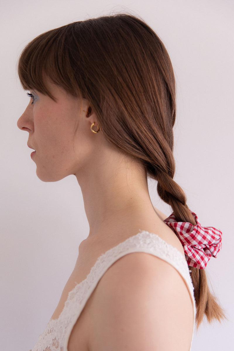 Anita is Vintage Handmade Recycled Fabric Red & White Gingham Scrunchie