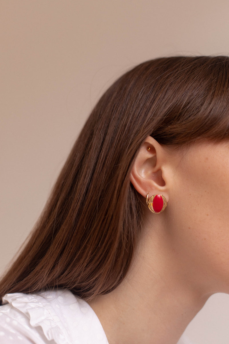 Anita is Vintage Gold & Red Circle Earrings