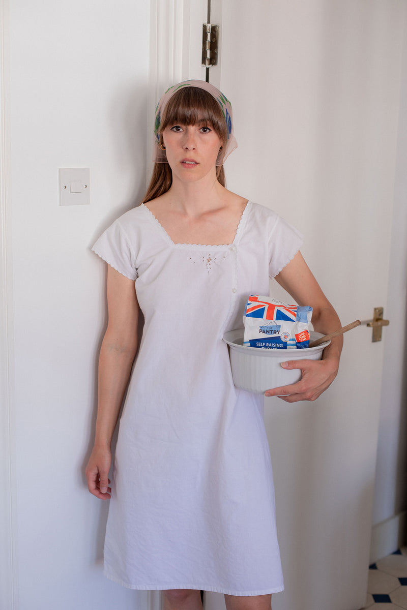 Anita is Vintage White Cotton Linen Dress