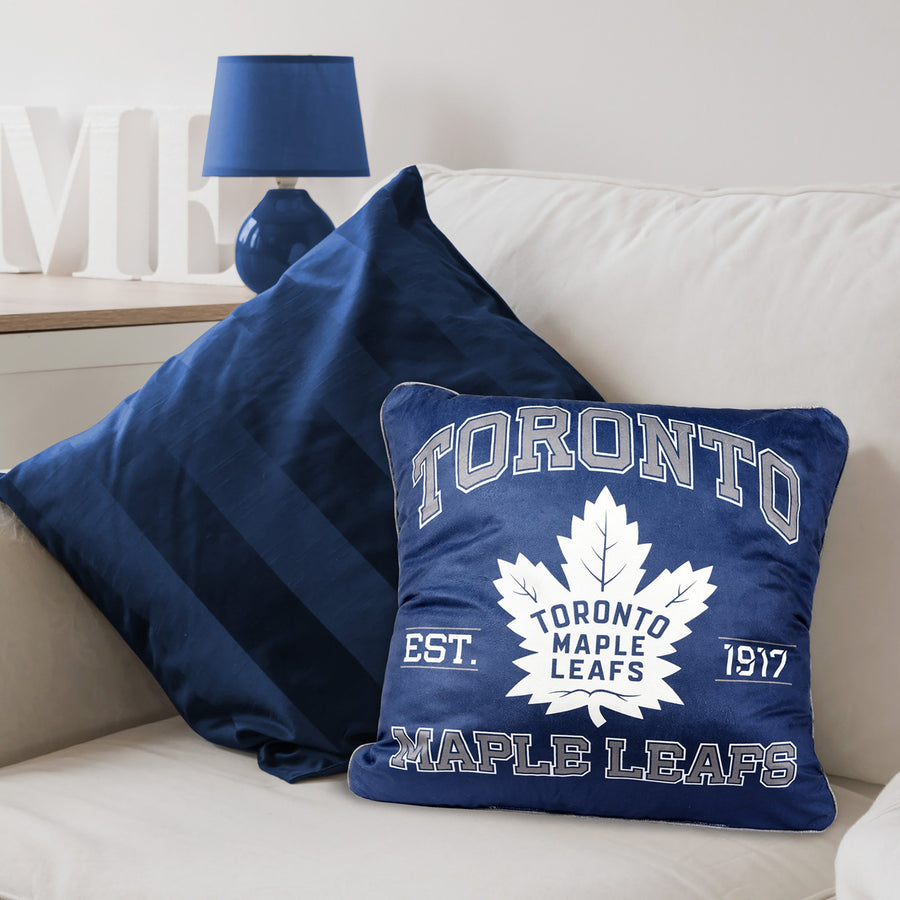 A team pillow with Toronto Maple Leafs