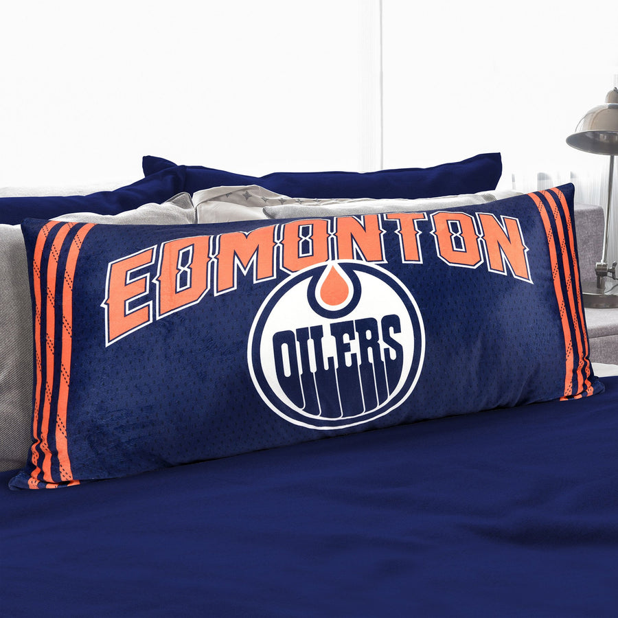 A body pillow with Edmonton Oilers
