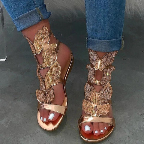 RoseyMacy 2020 Women Flat sandals Rehinestones Decorated Shinning Sandals