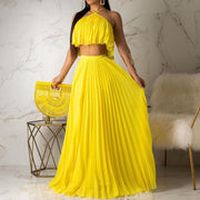 RoseyMacy Halter Tops and Pleated Skirt Set