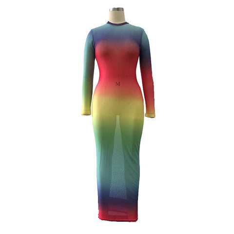 RoseyMacy Multicolor Striped See-through Dress