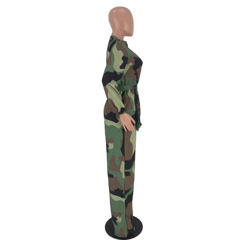 RoseyMacy Camo Printing Women Jumpsuit