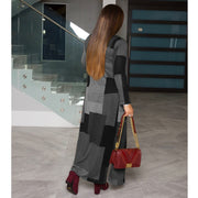 NewlyDress Colors Patchwork Open Front Women Ankle Length Cardigan