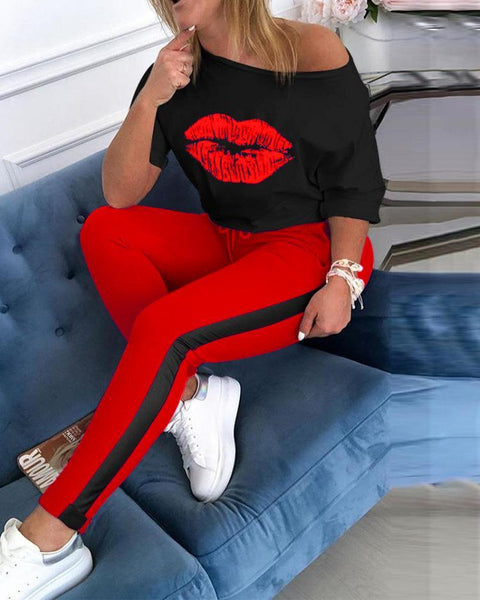 RoseyMacy Lips Printing Women Outfits Women Sweatsuits