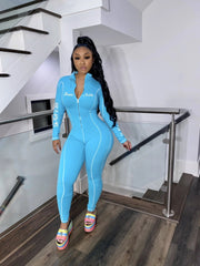 RoseyMacy V-neck Women Jumpsuit  Sweat Jumpsuit Sports Jumpsuit