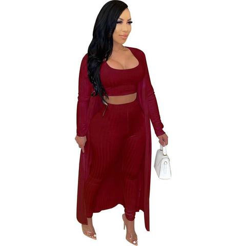 RoseyMacy 2020 Winter Women Long Cardigan and Tank Tops and Skinny Pants Three Pieces Outfits
