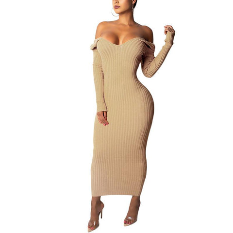 RoseyMacy Women Dress Midi Dress Winter Dress Knitting Dress