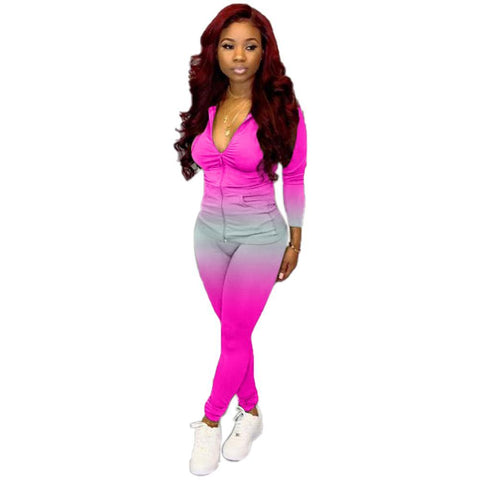 RoseyMacy Women Hoodie and Pants Gradient Printing Outfits