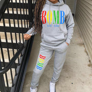 RoseyMacy Women Hoodies and Sweat Pants two Pieces Outfits