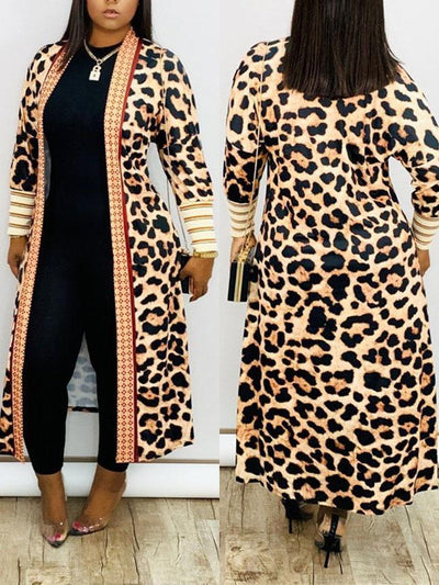 NewlyDress Leopard Women Open Front Outerwear