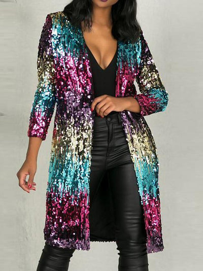 Sequined Open Front Outerwear