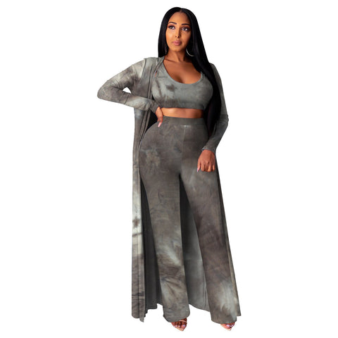 RoseyMacy Women Tank tops and Wide Leg Pants and women Outerwear Women Cardigan Two Pieces Outfits