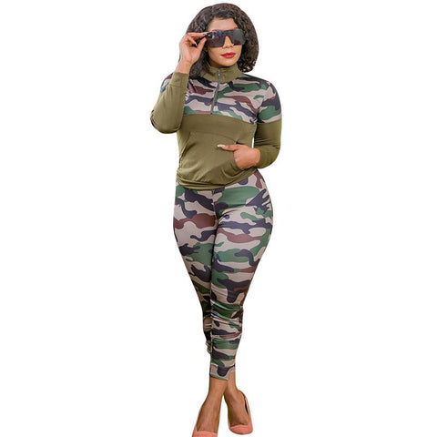 RoseyMacy Women Camo Printing Outfits At-home oufits