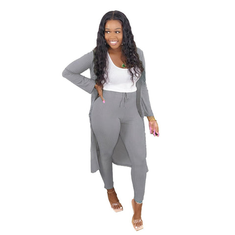 RoseyMacy Women Outerwear Women Cardigan and Sweat Pants Two Pieces Outfits