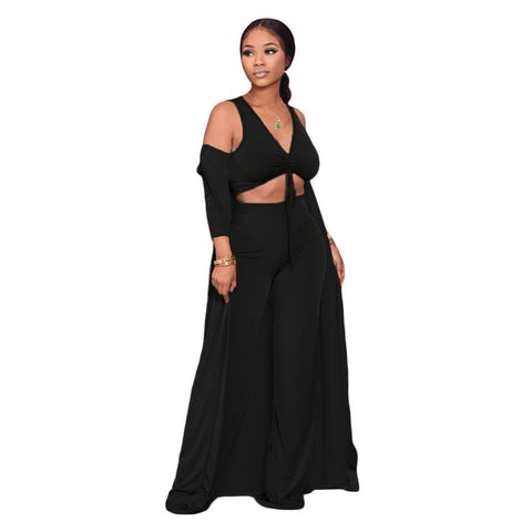 RoseyMacy 2020 Women Tank Tops and Wide Leg Pants And Women Cardigan Three Pieces Outfits