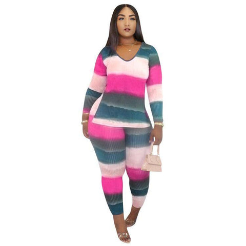 RoseyMacy 2020 Winter Women Sweat Shirt and Skinny Pants Two Pieces Outfits At home Outfits