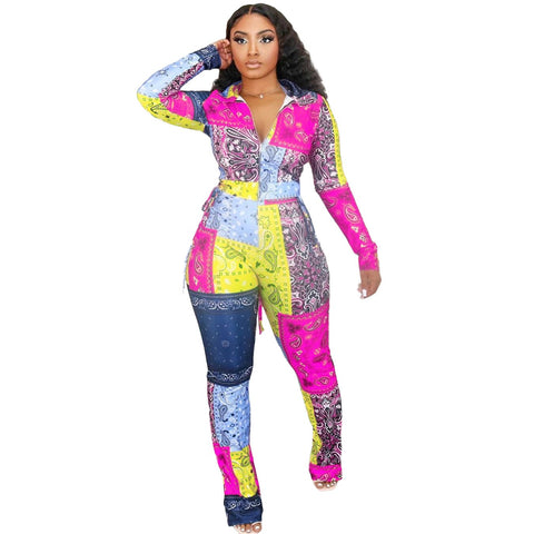 RoseyMacy Women Two Pieces Outfits Multicolors Printing Women Outfits