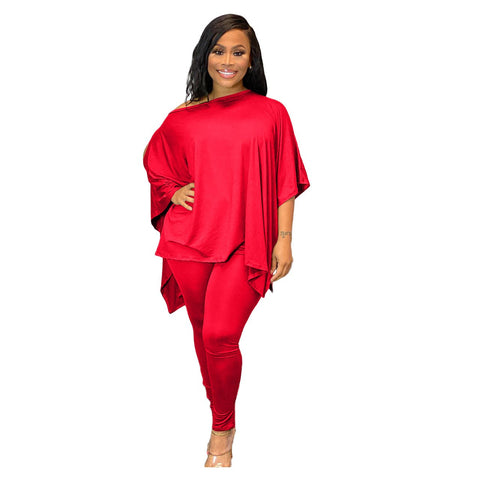 RoseyMacy Woemn T-shirt Cold Shoulder T-shirt Split T-shirt and Women Pants Two Pieces Outfits