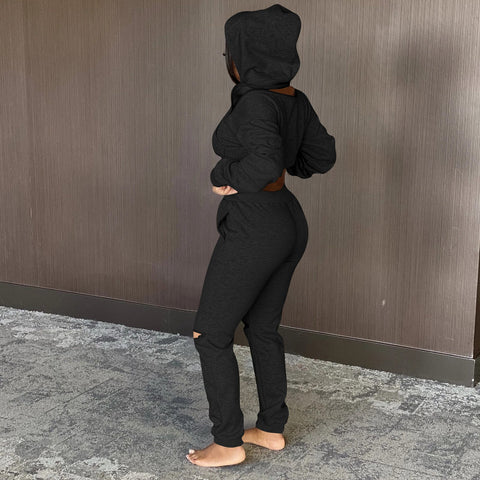 RoseyMacy Women Crop Hoodies Zippers Hoodies and Broken Holes Pants Two Pieces Outfits