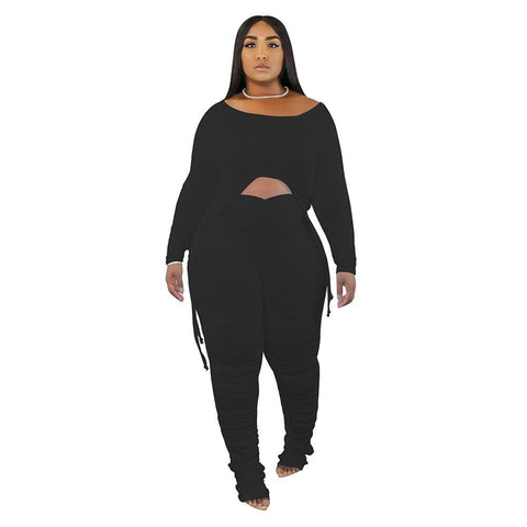 RoseyMacy 2020 Autumn Women Crop Tops and Skinny Pants Two Pieces Outfits (23% off now!!!)