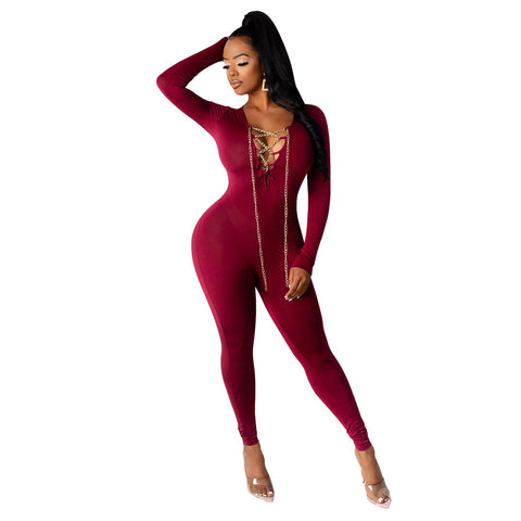 RoseyMacy 2020 Winter Jumpsuit Chain Decorated V-neck Jumpsuit