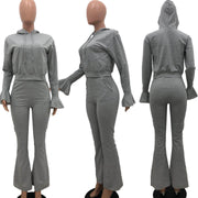RoseyMacy women Crop Hoodies Flare Sleeves Hoodies and Flare Pants Two Pieces Outfits