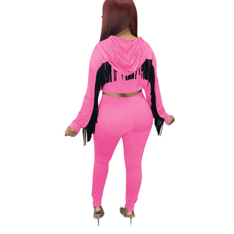 RoseyMacy 2020 Winter Women Short Hoodies with Tassels and Sweat Pants Two Pieces Outfits