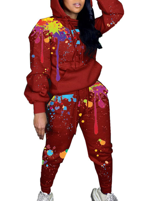 RoseyMacy Printing Outfits Two Pieces Women Sweatsuit Two Pieces Outfits