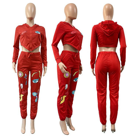 RoseyMacy Women Crop tops Short Hoodies and Printing Pants Two Pieces Outfits