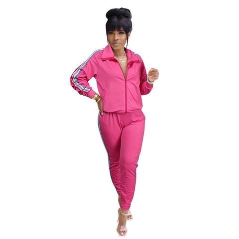 RoseyMacy Women Outfits Women Sweat Jacket and Sweat Pants Two Pieces Outfits