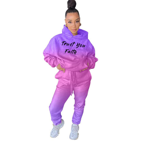 RoseyMacy US women Outifts Women Hoodies and Sweat Pants Two pIeces Gradient Printing Outfits