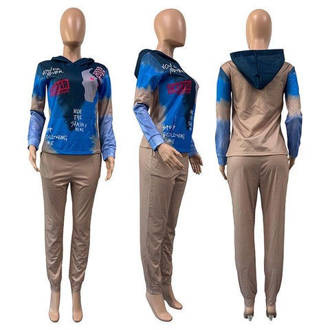 RoseyMacy Women Hooides and Sweat pants Two Pieces Outfits