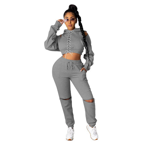 RoseyMacy US women Outifts Crop Tops Cold Shoulder tops and Broken Holes pants Two Pieces Outfits