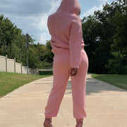RoseyMacy Beards Decorated Womeon Hoodies and Sweat Pants two Pieces Outfits